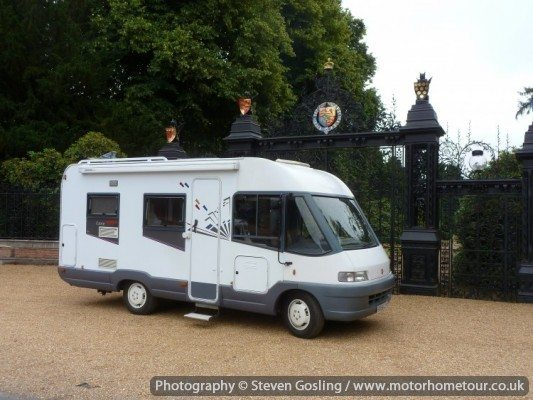 Ellie, our new motorhome outside the gates at Sandringham